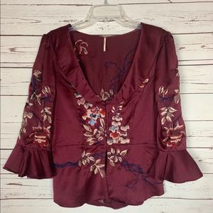 Free People Embroidered Flowy Floral Top Burgundy